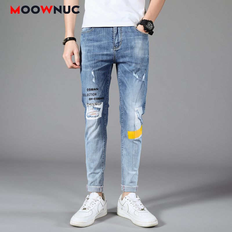 Jeans Casual Pants Autumn Sweatpants Streetwear Male Trousers MOOWNUC Hole Skinny Denim Jeans For Men Slim Designer Straight