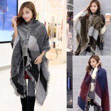 40 # moda grandes cachecóis feminino longo cashmere inverno lã mistura macio confortável quente xadrez cachecol envoltório xale xadrez cachecóis