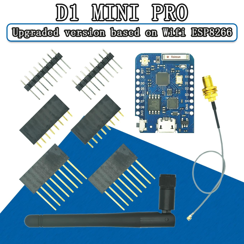 WEMOS D1 мини и формирующая листы для кровли 4 м/16 Mбайт внешнего антенного разъема NodeMCU основе ESP8266 ESP-8266EX CP2104 Wi-Fi макетная плата микро USB