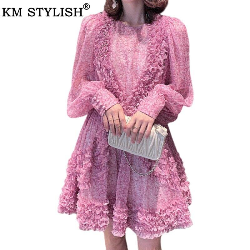Женское платье, розовое, фиолетовое, цветочное, шелковое, Осеннее, новое, Vestidos, круглый вырез, длинный рукав, женское, французское, шифоновое, ...
