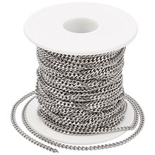 цены Soldered 304 Stainless Steel Curb Chains, Twist Chains, Faceted, Stainless Steel Color, 4x3x0.8mm; about 20m/roll
