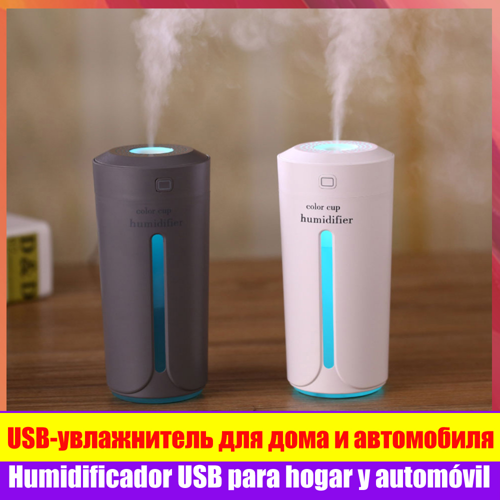 7 LED Colors Portable Ultrasonic Mist Humidifier for Car Aroma Essential Oil Diffuser Humidifier USB Light Cup Purifier Atomizer image
