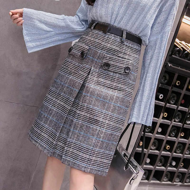 Liva girl юбка женская зимняя новинки 2019 клетчатая юбка с высокой талией женские юбки больших размеров классическая юбка в клетку уличный стиль одежда для женщин модные зимние юбки с поясом FR031