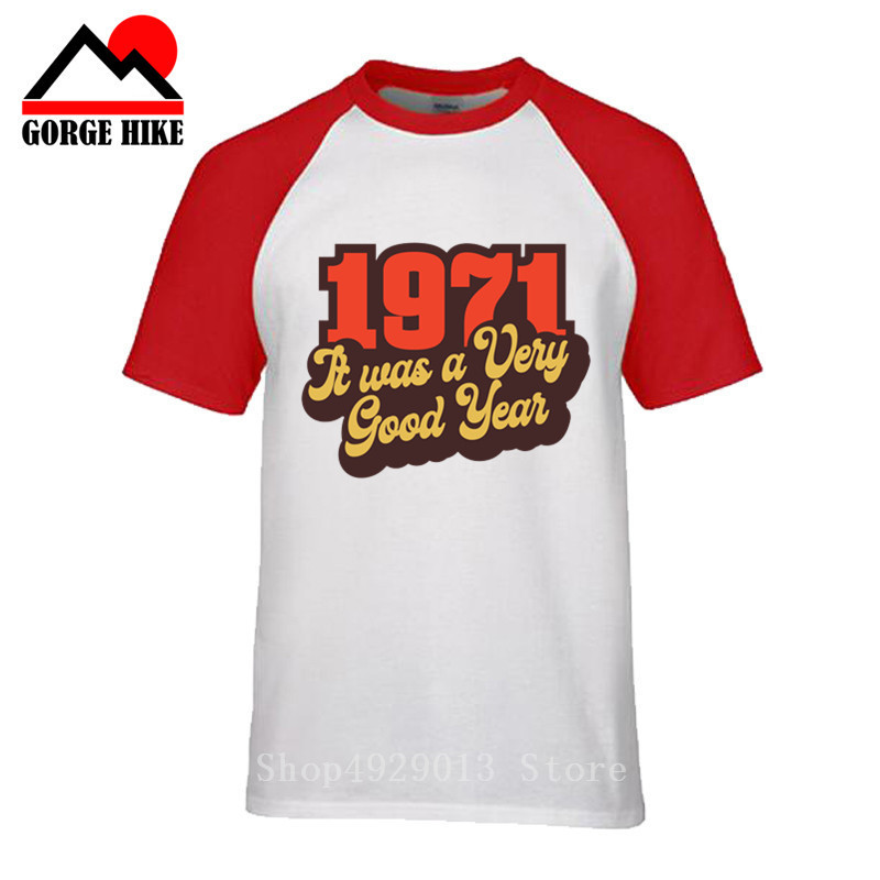 <font><b>Vintage</b></font> <font><b>1971</b></font> It Was A Very Good Year T Shirt Printed 100% Cotton Awesome T-Shirt Man's Limited Release Short Sleeve O-Neck Tees image