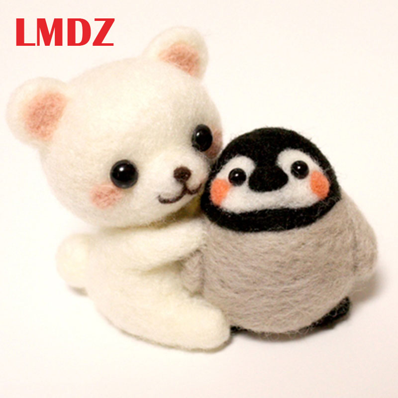 LMDZ 1Pcs Creative Cute Animal Penguin Bear Toy Doll Wool Felt Poked Kitting Non-Finished Handcarft Wool Felting Material