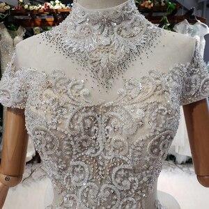 Image 5 - HTL634 elegant wedding dress with train high neck short sleeve crystal lace wedding gown ruffle train vestidos de novia vintage