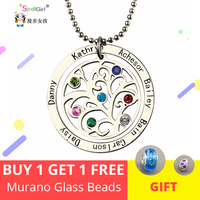 StrollGirl 925 Sterling Silver Tree of Life Necklace Personalized Custom Family Name&Birthstone Jewelry Chain Mother's Day Gift