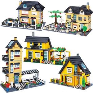 City Architecture France Villa Cottage Building Blocks set Friends Beach Hut Modular Home House Village Model Toys for children