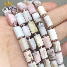 Natural Faceted Pink Opal Stone Beads Cylinder Gem Loose Spacer Beads For Jewelry DIY Making Bracelet Charms Accessories 7.5''
