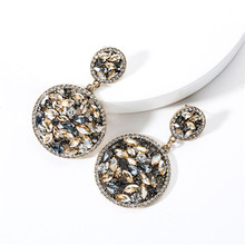 2019 new Fashion Jewelry Double Size Round Acrylic Earrings Retro Pop Personality dance Womens