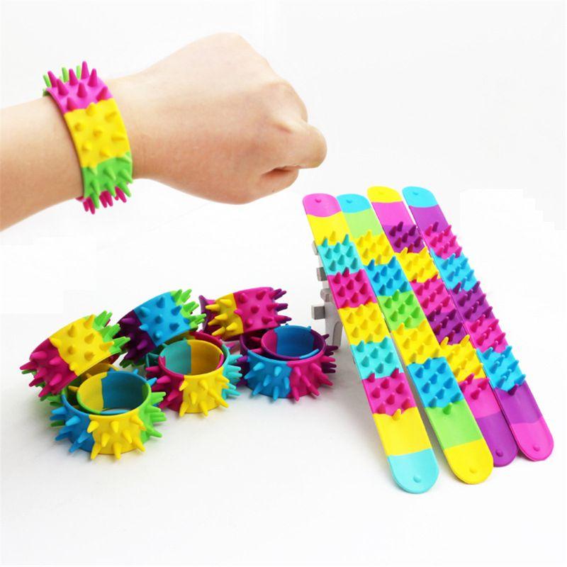 Spiky Slap Bracelet Silicone Spike Fidget Bracelets Office School Classroom Sensory Classic Toy Antistress For Children Autism