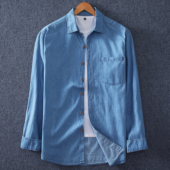 Plus Size 6XL 7XL 8XL Fashion Men's Denim Shirt 100% Cotton Casual Light Blue Spring Autumn Long Sleeve Shirt Male Brand 1