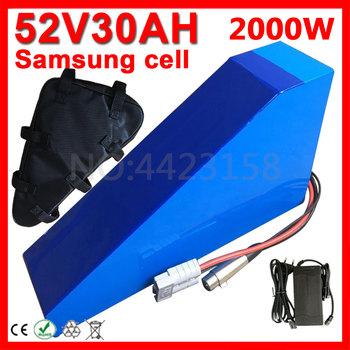 2000W 52V trójkąt bateria 52V 15Ah 18Ah 20Ah 24Ah 26Ah 30AH rower elektryczny akumulator litowo-jonowy użyj Samsung komórka + ładowarka bezcłowa tanie i dobre opinie ETARIO 21-30ah Bateria litowa Blue E5230 30000MAH Electric bicycle li-ion battery Electric bike Lithium battery 350*305*210*90*70-80*50MM (difference + - 5MM)
