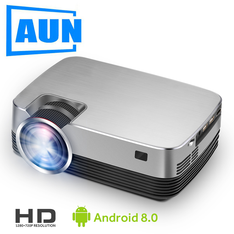 AUN New MINI Projector Q6-AD, 1280x720P Android 8.0 WIFI 2600 lumens, LED Proyector for 1080P Home Cinema, 3D Video Beamer.