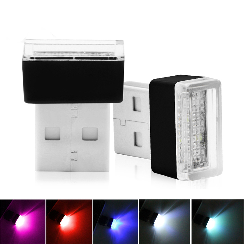 1pcs <font><b>Car</b></font> <font><b>USB</b></font> <font><b>LED</b></font> Atmosphere Lights Decorative Lamp Emergency Lighting Universal PC Portable Plug and Play Red/Blue/White/pink image