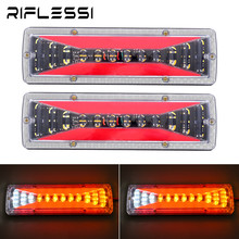 2 x Tractor Tail Lights 12V 24V Trailer Truck Sequential Turn Signal Reverse Brake LED Lamp Boat Vehicles Lorry Rear Light