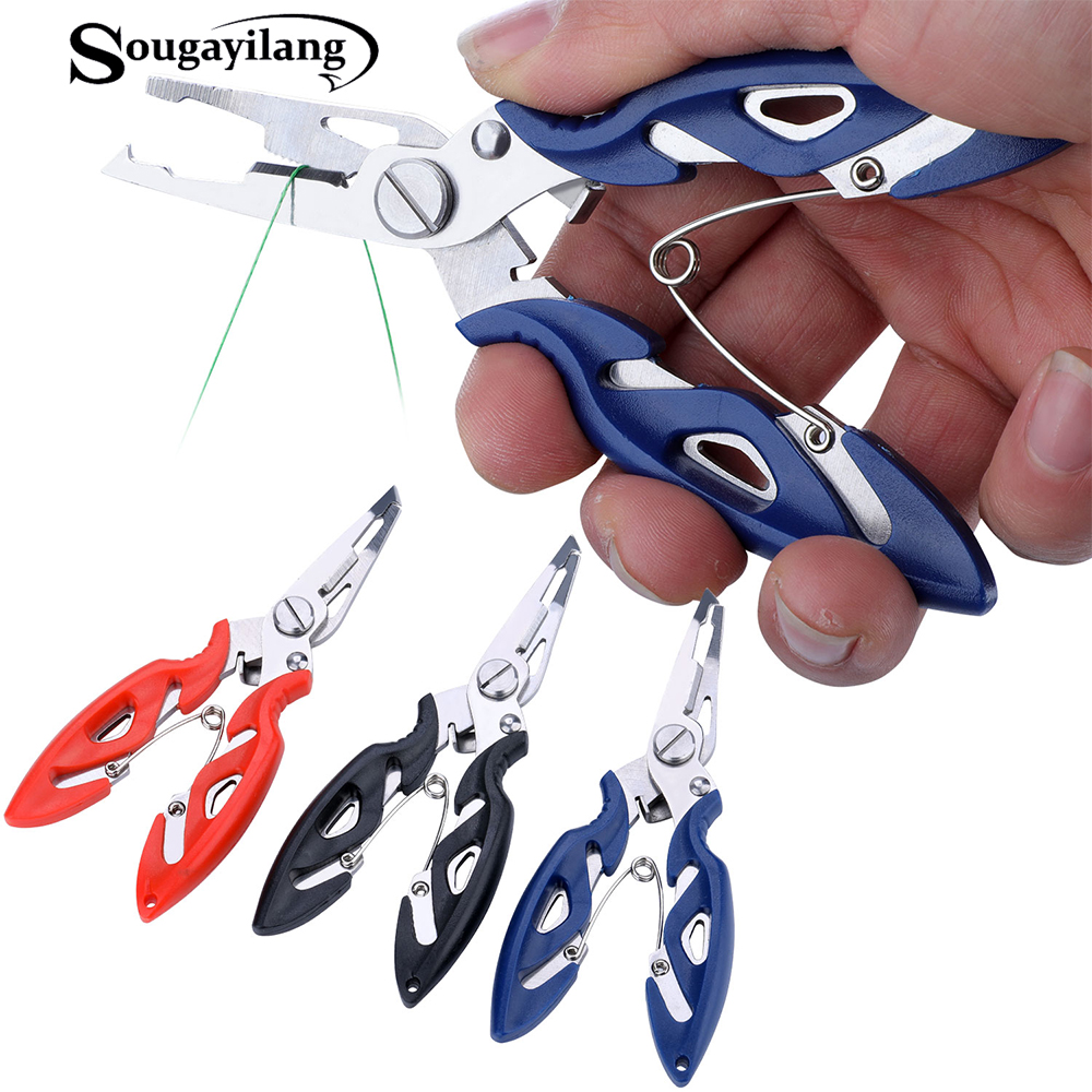 Sougayilang Fishing Pliers Fish Line Cutter Scissors Mini Fish Hook Remover Multifunction Tools New Black Blue Beak Jaw