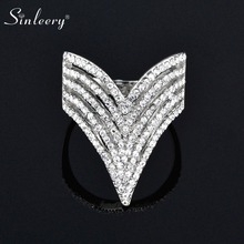 SINLEERY Trendy Micro Paved Cubic Zirconia Hollow Finger Rings Silver Color Women Cocktail Ring Wedding Jewelry JZ031 SSB