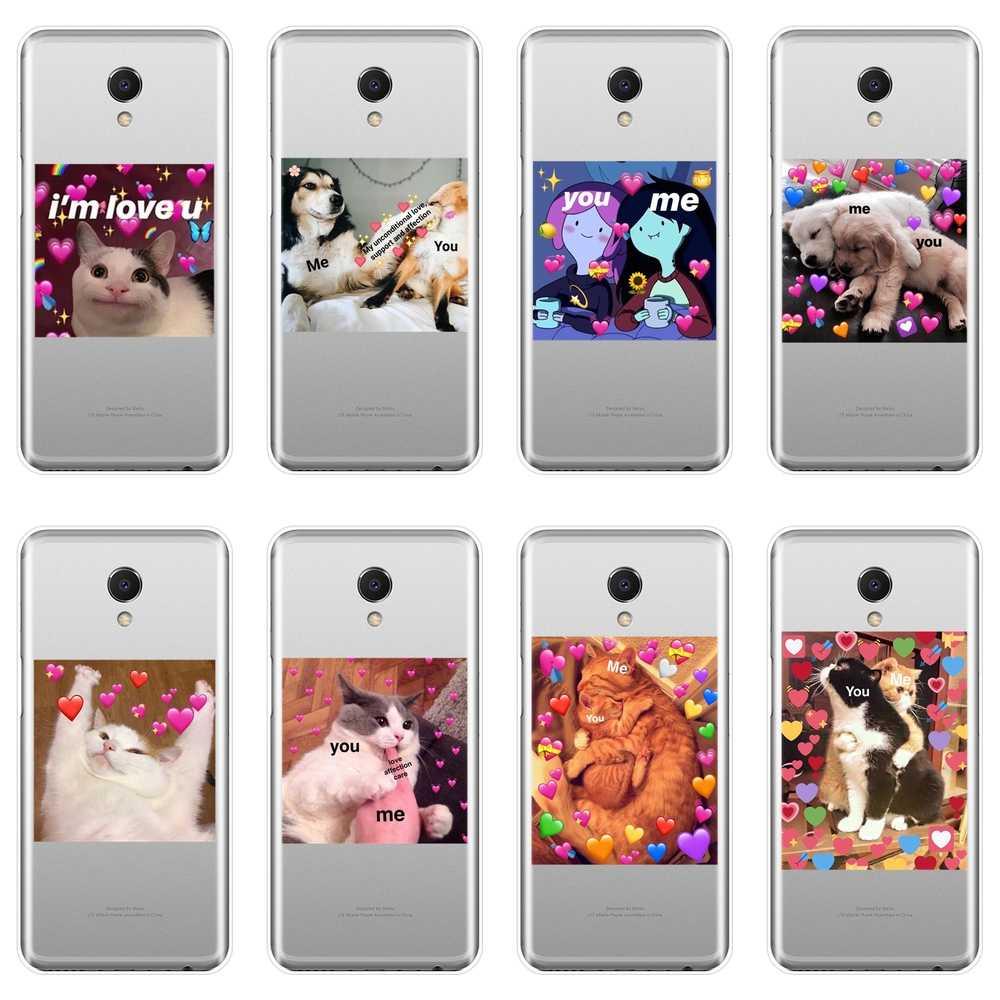 TPU Telefon Fall Silikon Für Meizu M6 M6S M6T M5 M5C M5S M3 M3S M2 Lustige Katze Hund Herz Weichen zurück Abdeckung Für Meizu M2 M3 M5 M6 Hinweis