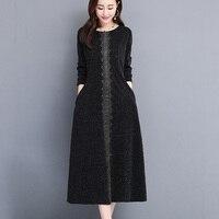 2019 Autumn Winter New Dress Women Fashion Long sleeve Middle aged O neck Ethnic long Dress Female Plus size L 5XL CC1437