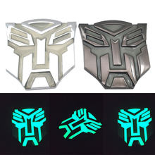 Car styling in metallo auto-luminoso dopo assorbire i trasformatori di luce Autobot Emblem Badge Sticker Decal