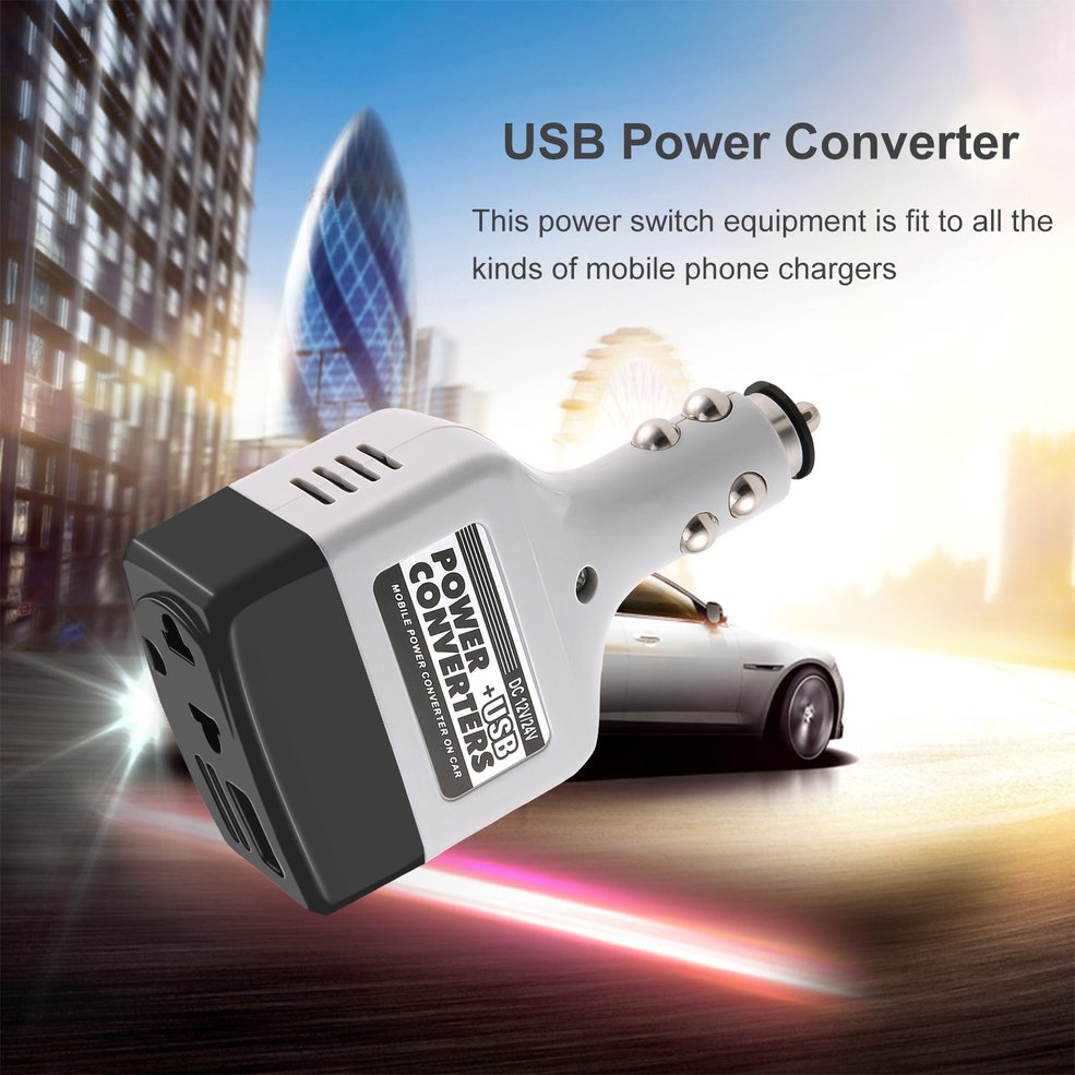 DC 12/24 V to AC 220 V/<font><b>USB</b></font> 6 V Car Power Inverter Adapter Mobile <font><b>Auto</b></font> Power Car <font><b>Charger</b></font> Converter With <font><b>USB</b></font> Interface image