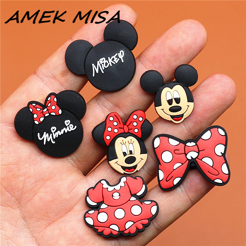 1pcs Cartoon Mickey And Minnie PVC Shoe Charms Accessories Fit For Shoes Bracelets Bands Croc JIBZ Shoe Buckle Ormaments Gifts
