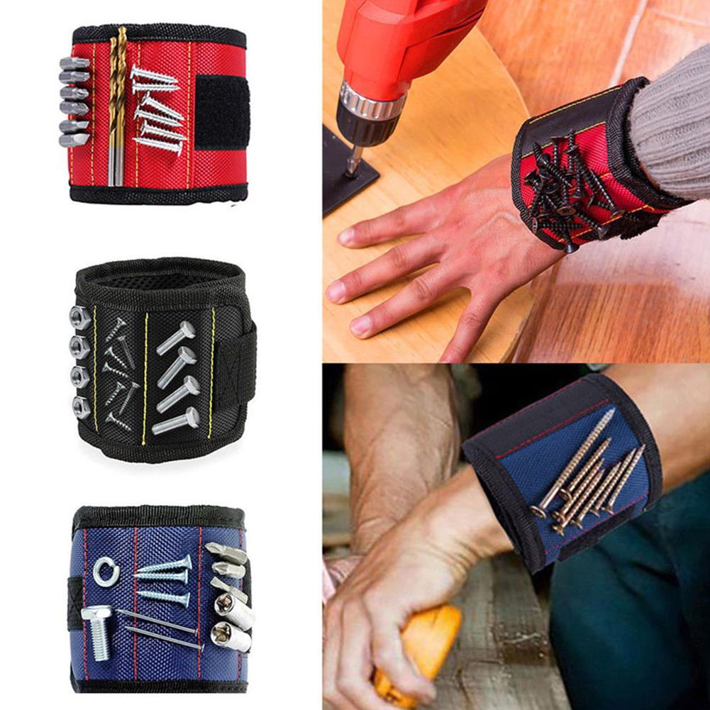 Magnetic Wristband Portable Tool Bag Electrician Wrist Tool Belt Screws Nails Drill Bits For Repair Tool