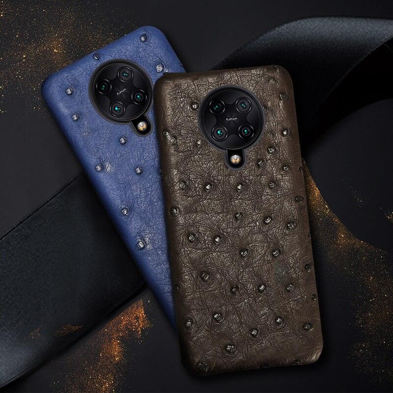 100% Genuine Ostrich Leather Case for Xiaomi Poco F2 Pro Mi 10 9 9T Pro A3 Luxury Cover for Redmi Note 9 Pro 9S Note 8 Pro 8T 7