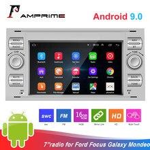 AMPrime-radio Multimedia con GPS para coche, Radio con reproductor DVD, Android 9,0, 2 Din, 7 pulgadas, para Ford/Focus/s-max/Mondeo 9/galayc-max