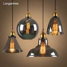 Винтажный стеклянный подвесной светильник, Подвесная лампа в скандинавском стиле, 28 см, дымчато серая промышленная лампа для столовой, спальни, кухни, E27