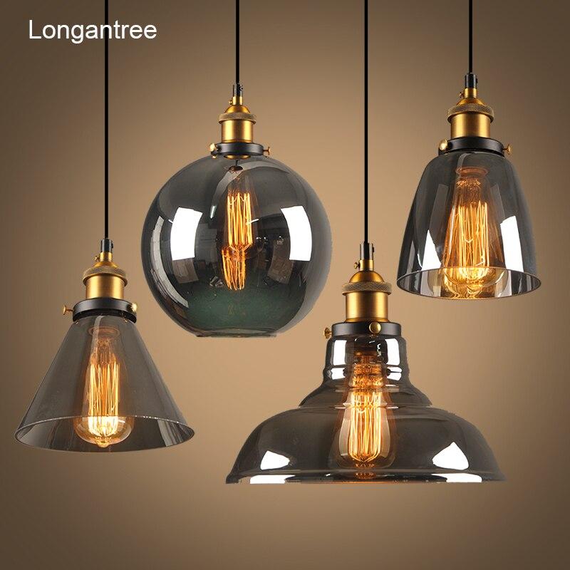 Lámparas colgantes Vintage lámpara colgante de cristal altillo lámpara colgante nórdica 28cm ahumado gris lámpara Industrial comedor dormitorio cocina E27
