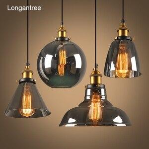 Image 1 - Luzes pingente de vidro do vintage lâmpada loft nordic pendurar lâmpada 28cm cinza fumado industrial sala jantar quarto cozinha e27