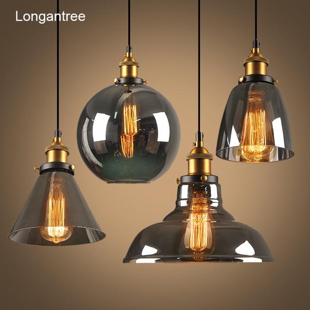 Luzes pingente de vidro do vintage lâmpada loft nordic pendurar lâmpada 28cm cinza fumado industrial sala jantar quarto cozinha e27