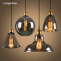 Vintage Pendant Lights Glass Pendant Lamp Loft Nordic Hang Lamp 28cm Smoky Grey Industrial Lamp Dinning Room Bedroom Kitchen E27