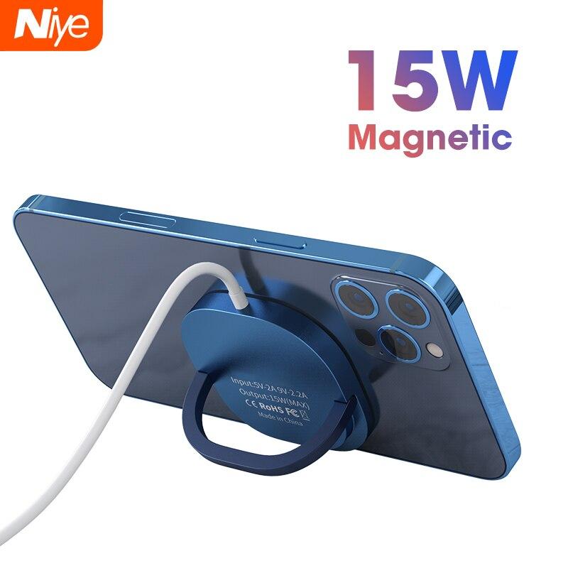 Беспроводное зарядное устройство PD 15 Вт для iPhone 12 Pro Max, быстрое зарядное устройство Magsafing, док-станция, быстрое USB C магнитное адсорбируемое з...