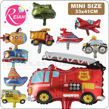 Mini Vehicle series balloons Happy Birthday kids Motorcycle Party Decorations car baby shower gift tank train Fire truck globos image