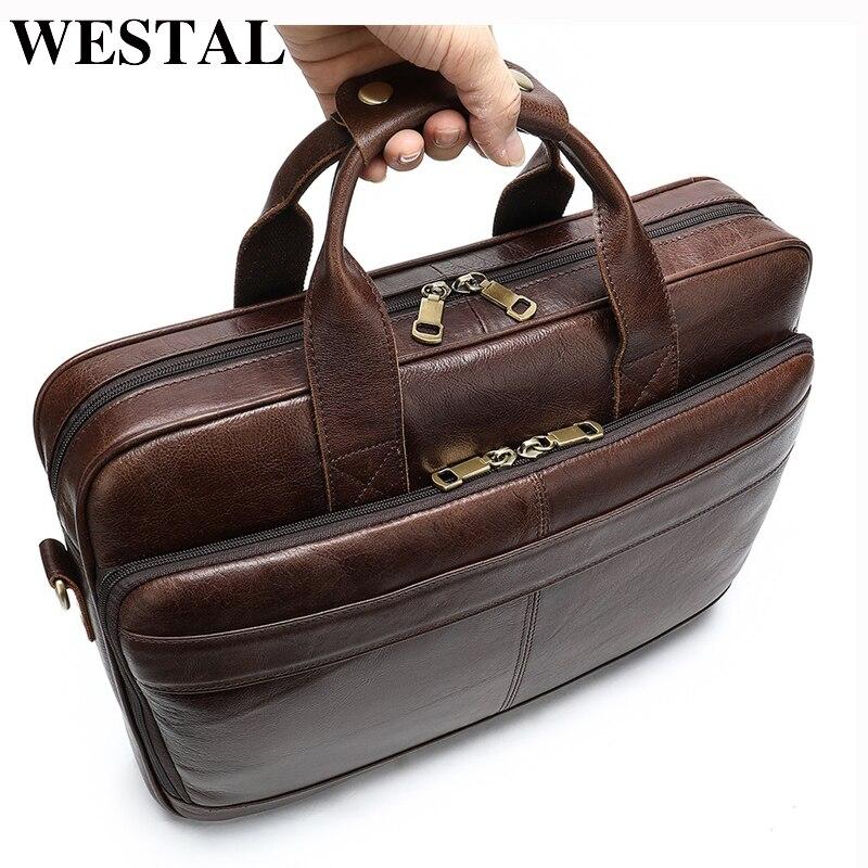 WESTAL Business Men Briefcase Laptop Bag Leather Men's Messenger Bag Genuine Leather Work/Office Bags For Men Briefcase Male