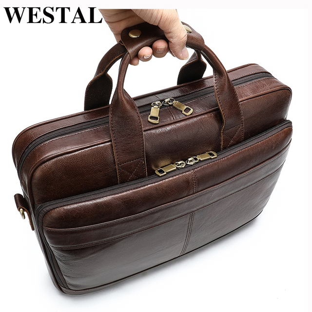 WESTAL Business Men Briefcase Laptop Bag Leather Mens Messenger Bag Genuine Leather Work/Office Bags for Men Briefcase Male