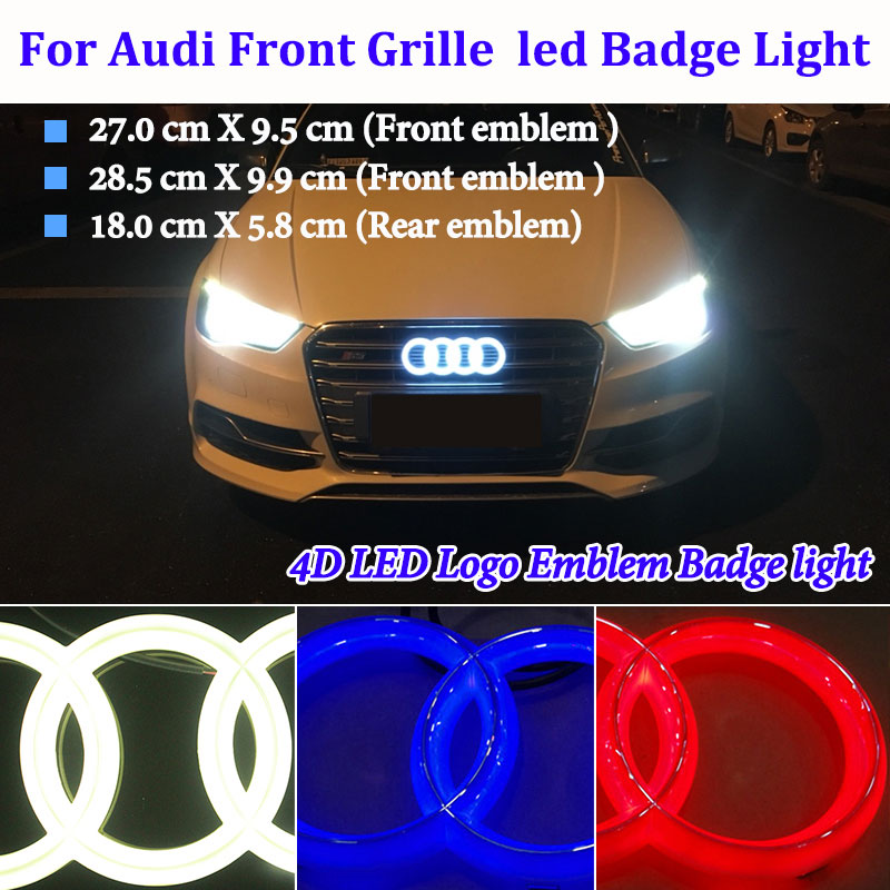 Badge logo light is suitable For Audi Q7 A4 b8 A3 8p 8l A6 Q5 A1 A5 80 TT Q3 R8  B6 A5 S5 S6 led car