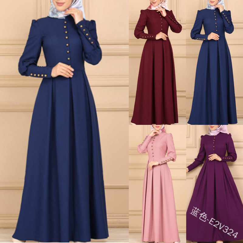 Turkey Dubai Muslim Long Dress Women Big Swing A-line Abaya Caftan Kimono Islamic Clothing Elbise Moroccan Kaftan Hijab Dresses image