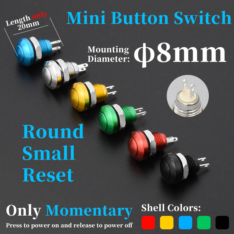 Mini Momentary On//Off Micro Switch Blue 2pins 0.5A x 1pc