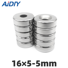 AI DIY 10/20/50 pcs 16x5mm Hole 5mm N35 Super strong ring countersunk magnets  permanent neodymium Rare Earth magnet sale neodymium magnets iman 3 pcs lot n35 20x10x5mm strong ring countersunk rare earth