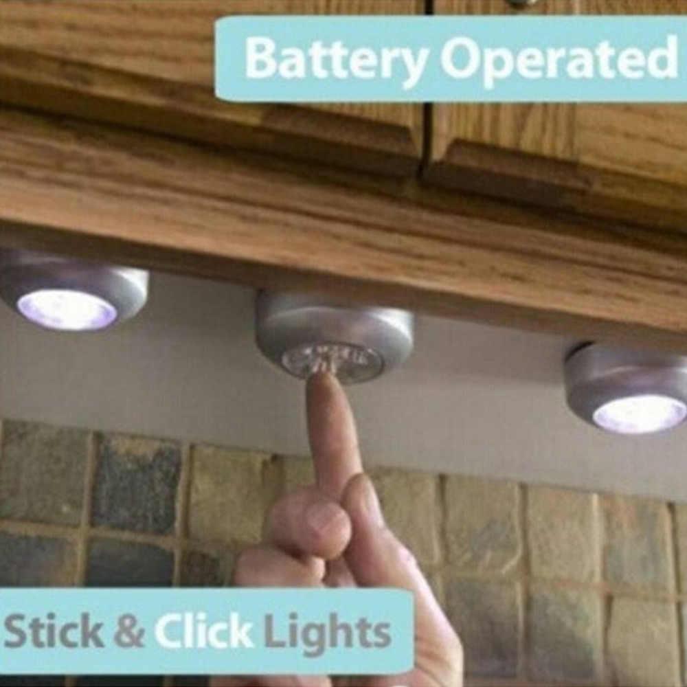 Новый 4 светодиодный сенсорный светильник с батарейным питанием, ручка для дома, кухни, под шкаф, для шкафа, нажмите на кран, для автомобиля, для дома, настенная палка на лампу
