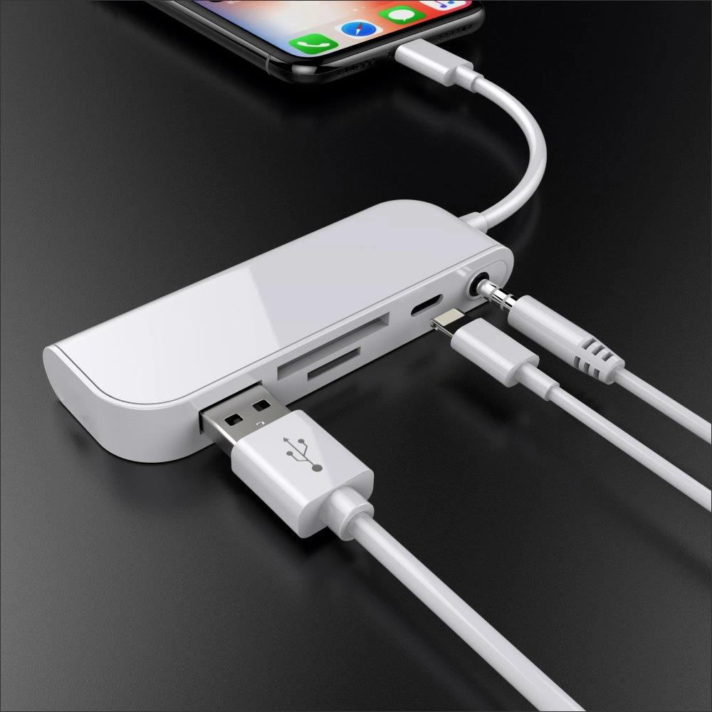 Multiport 8pin USB Converter Support SD TF Card USB Hub Adapter Multi-function Converter Macbooks Pro Air PC Computer Accessorie