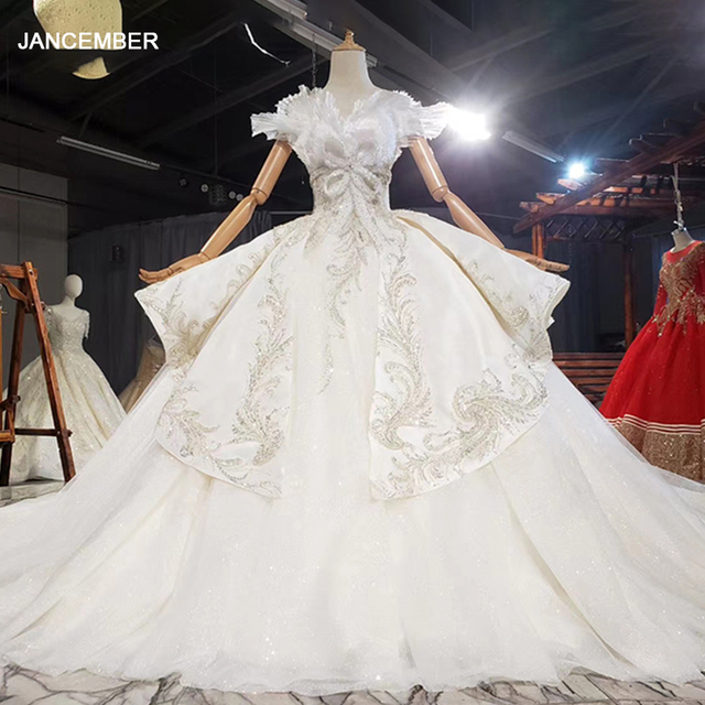 HTL1772 Ball-Gown Beaded Luxury Wedding Dress 2020 Backless Applique Off The Shoulder Short Sleeves 1