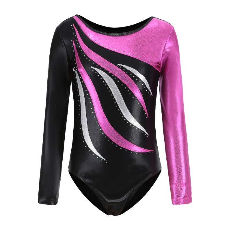 Long Sleeve Children's Ballet Gymnastics Suit Leotards Dance Practice Clothes Dance Clothes Girls Diamond Pattern Body Suit New