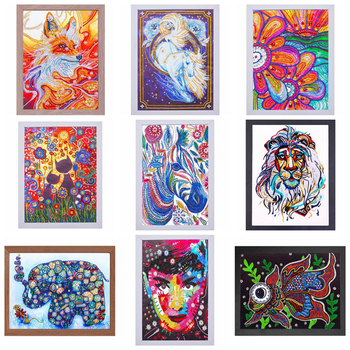 Special Shaped Diamond Painting Flowers 5d Diy Diamond Embroidery Animal Partial Round Drill Diamond Mosaic Painting With Frame фото