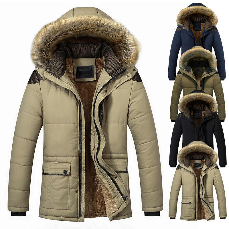 2019 Winter Parkas Coat Thicken Down Cotton-padded Coats Casual Men Warm Wool Liner Jacket Streetwears Fur Collar Hooded Jackets