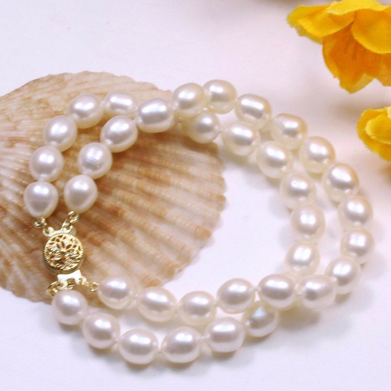 Genuine 2 row 7-8MM Natural white Freshwater Cultured Pearl Bracelet Bangle 7.5″
